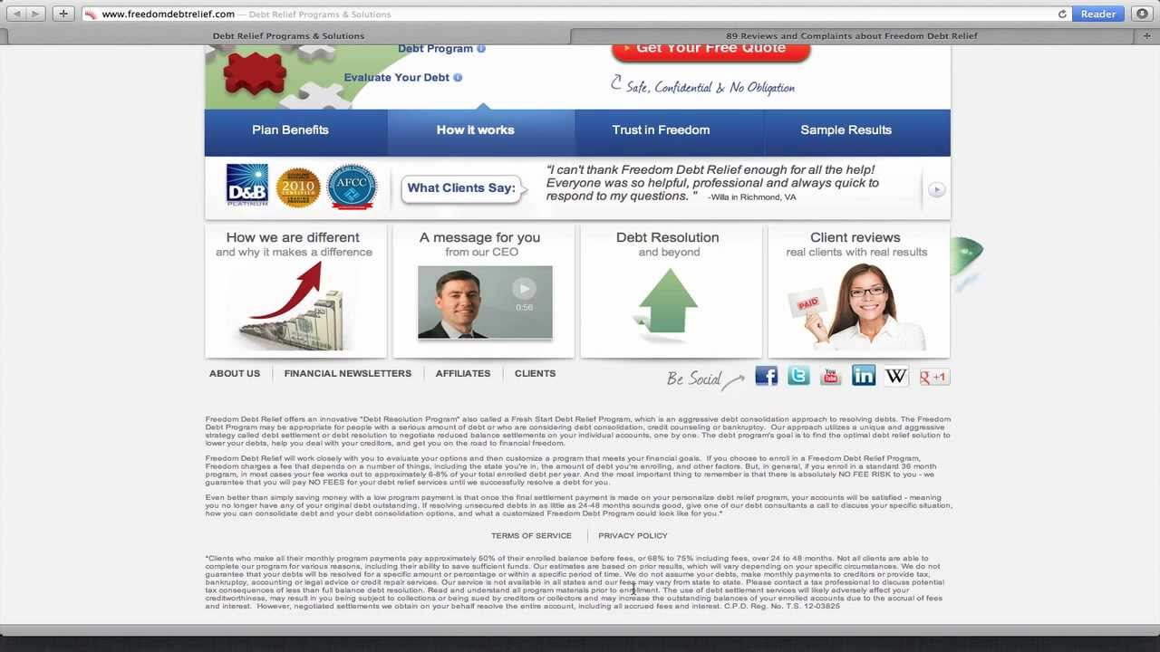 freedom debt relief reviews bbb